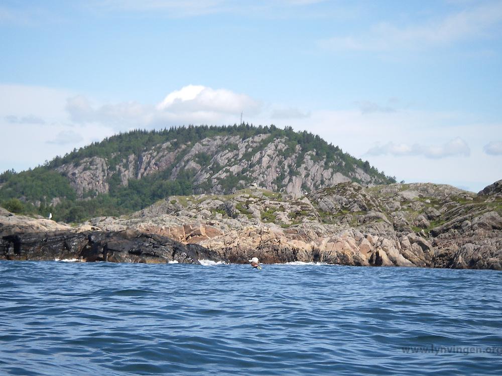 Kayaker behind waves - kajakkpadler forsvinner nesten bak noen bølger - approaching Lindesnes