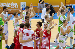 Players of Croatia and Slovenia after the basketball match between National teams of Slovenia and Croatia in Round 1 at Day 5 of Eurobasket 2013 on September 8, 2013 in Arena Zlatorog, Celje, Slovenia. (Photo by Vid Ponikvar / Sportida.com)