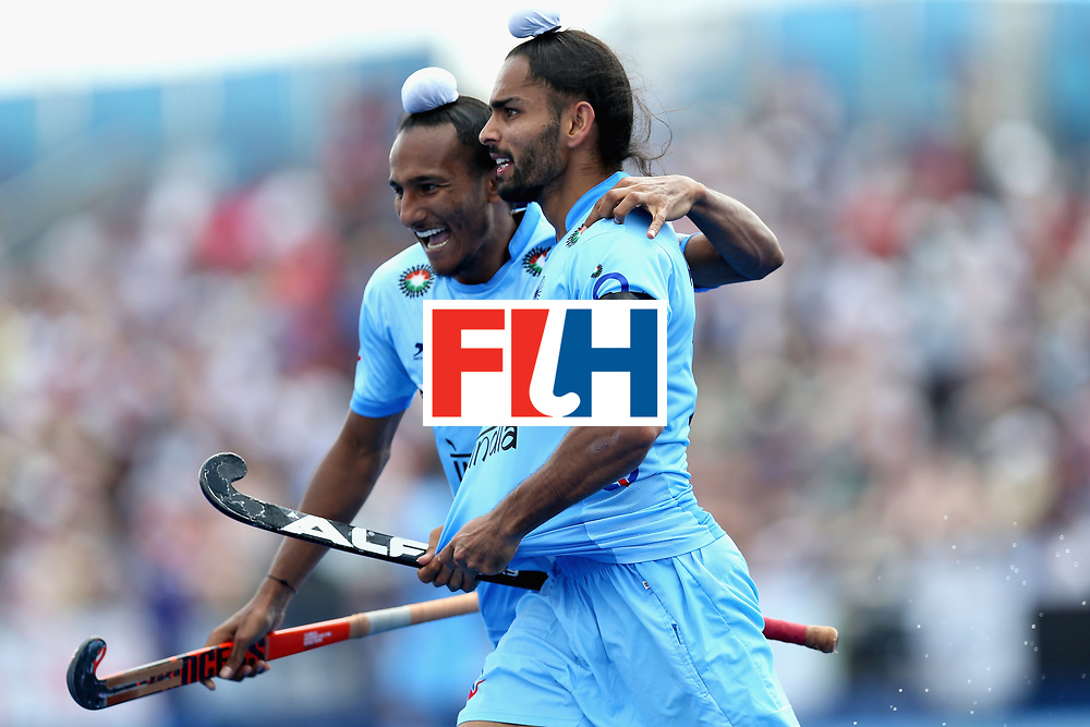 LONDON, ENGLAND - JUNE 18:  Akashdeep Singh of India celebrates scoring the fifth goal for India during the Hero Hockey World League Semi Final match between Pakistan and India at Lee Valley Hockey and Tennis Centre on June 18, 2017 in London, England.  (Photo by Alex Morton/Getty Images)