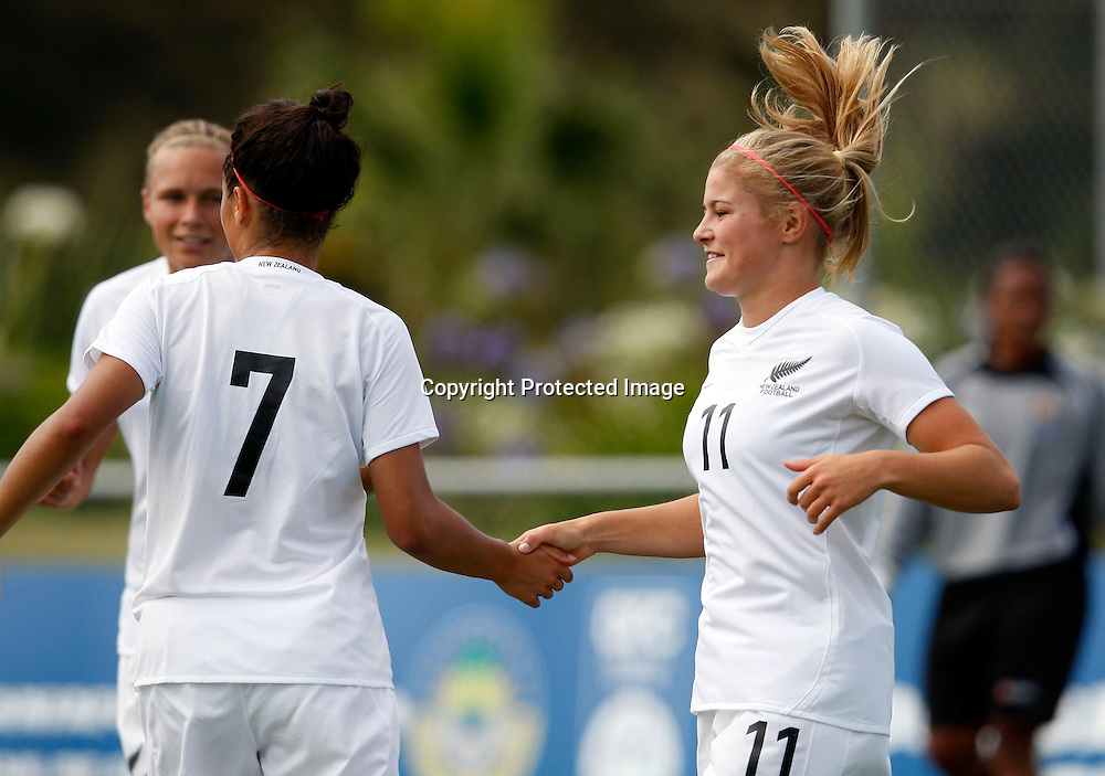 NZ's Rosie White celebrates scoring her 2nd goal with Elsie Mamanu Gray. OFC U-20 Women's Championship Football, Tonga v New Zealand, North Harbour Stadium Albany. Monday 25th January 2010. Photo: Shane Wenzlick/PHOTOSPORT