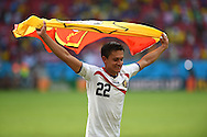 José Cubero of Costa Rica celebrates victory during the 2014 FIFA World Cup match at Itaipava Arena Pernambuco, Recife metropolitan area<br /> Picture by Stefano Gnech/Focus Images Ltd +39 333 1641678<br /> 20/06/2014