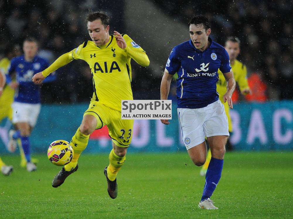 Tottenham Christian Eriksen attacks Leicesters Defence, Leicester City v Tottenham Hotspur, Premier League, King Power Stadium, Friday, Boxing Day, 26th December 2014