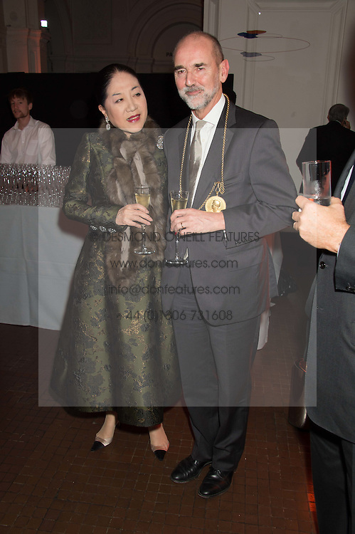 The DOWAGER, VISCOUNTESS ROTHERMERE and CHRISTOPHER LE BRUN at a dinner to celebrate Sir David Tang's 20 year patronage of the Royal Academy of Arts and the start of building work on the Burlington Gardens wing of the Royal Academy held at 6 Burlington Gardens, London on 26th October 2015.