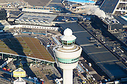 Nederland, Noord-Holland, Haarlemmermeer, 11-12-2013; luchthaven Schiphol met verkeerstoren en ingang Schiphol Plaza.<br /> Schiphol airport with control tower and entrance Schiphol Plaza.<br /> luchtfoto (toeslag op standard tarieven);<br /> aerial photo (additional fee required);<br /> copyright foto/photo Siebe Swart
