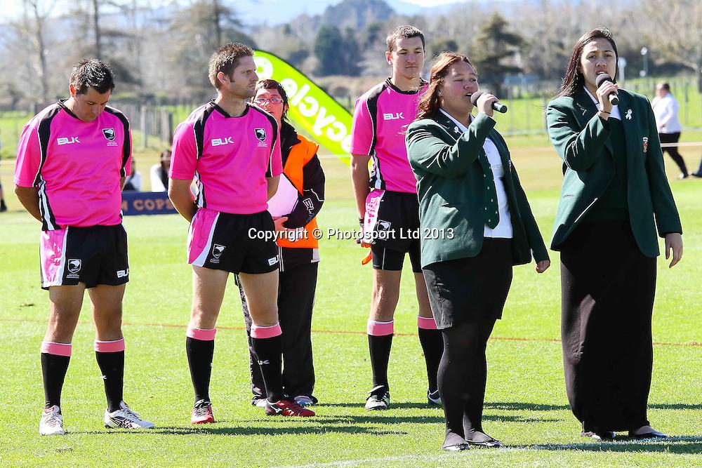 National Anthem, Development Final, Rotorua Boys High v St Thomas of Canterbury College, National Secondary Schools Rugby League - Day 5, Finals Day, Bruce Pulman Park, Auckland., 6 September 2013. Photo: David Joseph / photosport.co.nz