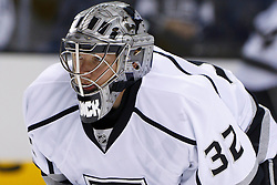Nov 7, 2011; San Jose, CA, USA; Los Angeles Kings goalie Jonathan Quick (32) warms up before the game against the San Jose Sharks at HP Pavilion.  San Jose defeated Los Angeles 4-2. Mandatory Credit: Jason O. Watson-US PRESSWIRE