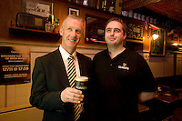 Pictured enjoying a premiere of the new Guinness advertisement, This is Rugby Country, which aired at an special viewing at O'Connell's Bar Eyre Sq. Galway, are Des Roche, Diageo and Paul Gillespie from O'Connell's Bar. Guinness enjoys a long standing relationship with Irish rugby and has been a partner of the IRFU for over 20 years. The new advertisement features real people - not actors or models - and this is one of the key ingredients to the campaign.. Photo:Andrew Downes.
