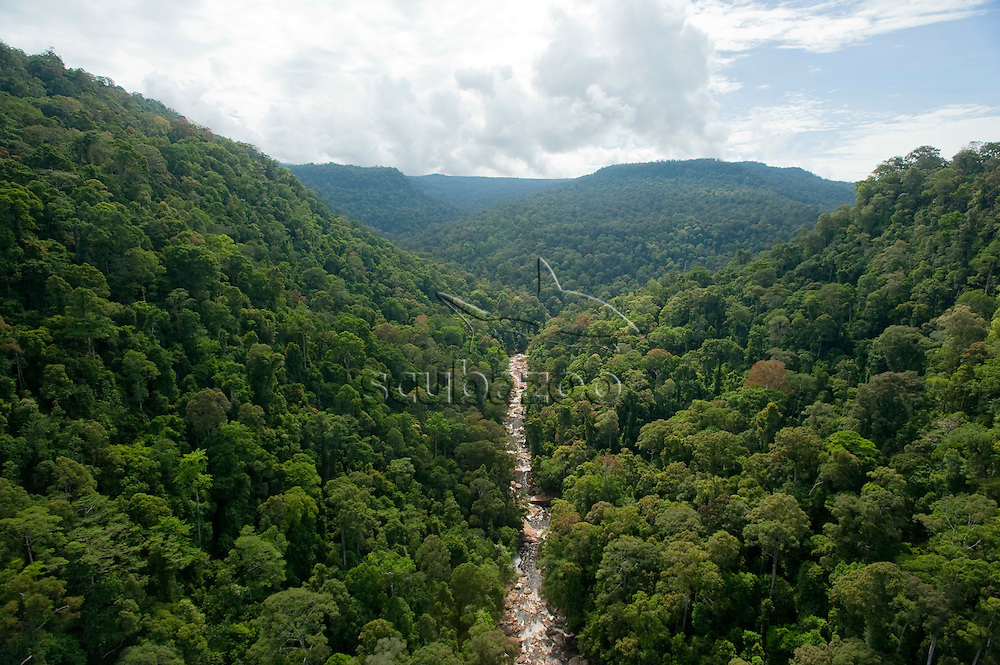 Aerial view of Maliau River in Maliau Basin, Sabah, Borneo, East Malaysia.