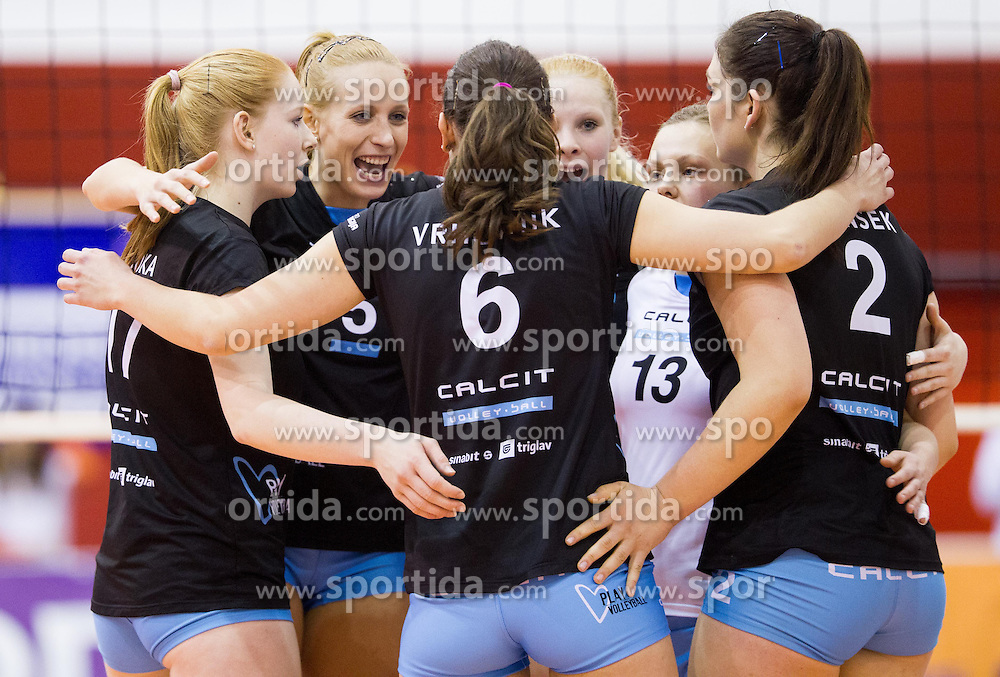 Players of Calcit celebrate during match between OK Nova KBM Branik and OK Calcit Volleyball in Finals of Slovenian Women Volleyball Cup 2013/14 on December 27, 2013 in Hoce, Slovenia.  Calcit Volleyball won 3-1 and became Slovenian Cup Champion 2013/14. Photo by Vid Ponikvar / Sportida
