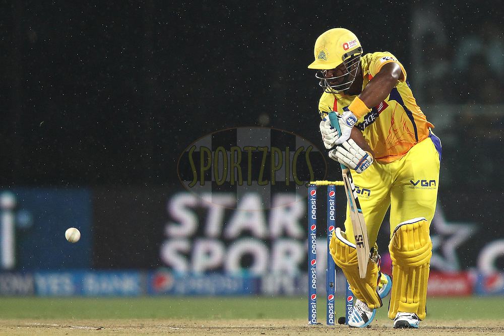 Dwayne Smith of The Chennai Super Kings pushes a delivery to the off side during match 26 of the Pepsi Indian Premier League Season 2014 between the Delhi Daredevils and the Chennai Super Kings held at the Feroze Shah Kotla cricket stadium, Delhi, India on the 5th May  2014<br /> <br /> Photo by Shaun Roy / IPL / SPORTZPICS<br /> <br /> <br /> <br /> Image use subject to terms and conditions which can be found here:  http://sportzpics.photoshelter.com/gallery/Pepsi-IPL-Image-terms-and-conditions/G00004VW1IVJ.gB0/C0000TScjhBM6ikg