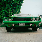 Green 1973 Dodge Challenger car USA
