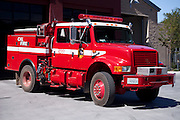 Vintage red fire truck in Cloverdale, CA