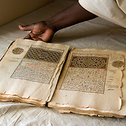 TIMBUKTU, MALI - NOVEMBER 14 : Marrocain style biography manuscript  of the profet Mahoma at the CEDRAB ( Centre de Documentation et Recherches Historiques Ahmed Baba ) on November 14, 2007 in Timbuktu, Mali . In the  Middle Ages  Timbuktu was the centre of the cultural world of black Africa, thanks to the merchants who came to the oasis and not just transporting goods but also manuscripts and books from across the Mediterranean and the Middle East that were copied and distributed.