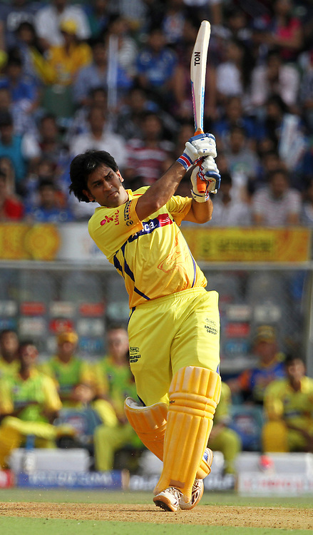 Chennai Super King captain MS Dhoni plays a shot during match 49 of the Indian Premier League ( IPL) 2012  between The Mumbai Indians and the Chennai Superkings held at the Wankhede Stadium in Mumbai on the 6th May 2012..Photo by Vipin Pawar/IPL/SPORTZPICS.