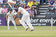 Neil Dexter turns one to leg during the Specsavers County Champ Div 2 match between Gloucestershire County Cricket Club and Leicestershire County Cricket Club at the Cheltenham College Ground, Cheltenham, United Kingdom on 15 July 2019.