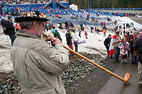 A fan brings his alpenhorn to the bobsled medal round of the 4-man bobsleigh finals during the 2010 Olympic Winter Games in Whistler, BC Canada.