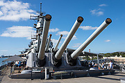 "1944 USS Missouri: main gun battery. Pearl Harbor, Oahu, Hawaii, USA. Ordered in 1940 and active in June 1944, the USS Missouri (""Mighty Mo"") was the last battleship commissioned by the United States. She is best remembered as the site of the surrender of the Empire of Japan which ended World War II on September 2, 1945 in Tokyo Bay. In the Pacific Theater of World War II, she fought in the battles of Iwo Jima and Okinawa and shelled the Japanese home islands. She fought in the Korean War from 1950 to 1953. Decommissioned in 1955 into the United States Navy reserve fleets (the ""Mothball Fleet""), she was reactivated and modernized in 1984 and provided fire support during Operation Desert Storm in January-February 1991. The ship was decommissioned in March 1992. In 1998, she was donated to the USS Missouri Memorial Association and became a museum at Pearl Harbor on the island of Oahu."