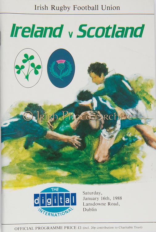 Irish Rugby Football Union, Ireland v Scotland, Five Nations, Landsdowne Road, Dublin, Ireland, Saturday 16th January, 1988,.16.01.1988, 01.16.1988,..Referee- Roger C Qiuttenton, R.F.U., ..Score- Ireland 22- 18 Scotland,..Irish Team, ..P P A Danaher,  Wearing number 15 Irish jersey, Full Back, Lansdowne Rugby Football Club, Dublin, Ireland, ..T M Ringland, Wearing number 14 Irish jersey, Right Wing, Ballymena Rugby Football Club, Northern Ireland,..B J Mullin, Wearing number 13 Irish jersey, Right Centre, Blackrock College Rugby Football Club, Dublin, Ireland,..M J Kiernan, Wearing number 12 Irish jersey, Left Centre, Dolphin Rugby Football Club, Ireland,..K D Crossan, Wearing number 11 Irish jersey, Left Wing, Instonians Rugby Football Club, Ireland,..P M Dean, Wearing number 10 Irish jersey, Out Half, St Marys College Rugby Football Club, Dublin, Ireland,..M T Bradley, Wearing number 9 Irish jersey, Scrum Half, Constitution Rugby Football Club, Cork, Ireland,..M E Gibson, Wearing number 8 Irish jersey, Forward, London Irish Rugby Football Club, London, England, ..W Sexton, Wearing number 7 Irish jersey, Forward, Garryowen Rugby Football Club, Ireland, ..P M Mathews, Wearing number 6 Irish jersey, Forward, Wanderers Rugby Football Club, Dublin, Ireland,..W A Anderson, Wearing number 5 Irish jersey, Forward, Dungannon Rugby Football Club, Ireland, ..D G Lenihan, Wearing number 4 Irish jersey, Captain of the Irish team, Forward, Cork Constitution Rugby Football Club, Cork, Ireland,..D C Fitzgerald, Wearing number 3 Irish jersey, Forward, Lansdowne Rugby Football Club, Dublin, Ireland,..T J Kingston, Wearing number 2 Irish jersey, Forward, Dolphin Rugby Football Club, Ireland, ..J J Fitzgerald, Wearing number 1 Irish jersey, Forward, Young Munster Rugby Football Club, Ireland,..Scottish Team, ..A G Hastings, Wearing number 15 Scottish jersey, Full Back, Watsonians Rugby Football Club, London, England, ..M D F Duncan, Wearing number 14 Scottish jersey, Right Wing, West