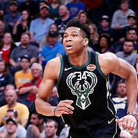 01 April 2018: Milwaukee Bucks forward Giannis Antetokounmpo (34) is seen during the Denver Nuggets 128-125 victory over the Milwaukee Bucks, at the Pepsi Center, Denver, Colorado, USA.