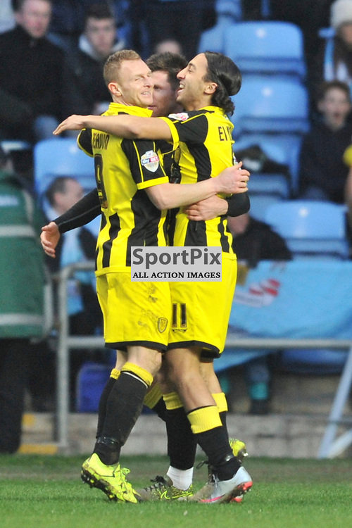 Burton Albion Celebrate Their first goal by Calum Butcher, Coventry City v Burton Albion, Ricoh Arena,  Sky Bet League 1, Saturday 16th JJanuary 2016, (Mike Capps/Sportpix)