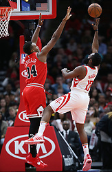November 3, 2018 - Chicago, IL, USA - Houston Rockets guard James Harden (13) aims for the basket as Chicago Bulls forward Wendell Carter Jr. (34) defends in the first quarter at the United Center Saturday, Nov. 3, 2018, in Chicago. The Rockets beat the Bulls 96-88. (Credit Image: © John J. Kim/Chicago Tribune/TNS via ZUMA Wire)