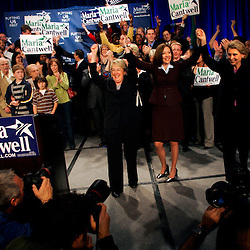 Sen. Patty Murray, left, and Gov. Christine Gregoire, right, celebrate the re-election of Sen. Maria Cantwell at The Westin ballroom in Seattle.