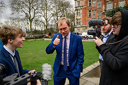 © Licensed to London News Pictures. 08/03/2017. London, UK. Liberal Democrat leader TIM FARRON gives a thumbs up while speaking to media outside The House of Parliament in London, on the day that  British chancellor Philip Hammond delivers his 2017 Budget to Parliament. Photo credit: Ben Cawthra/LNP