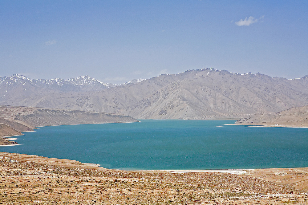 High-altitude turquoise lake, Yashil-kul, along Pamir Highway, Tajikistan