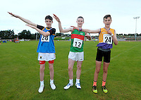 21 Aug 2016:  Iarlaith Golding, from Mayo, centre, 1st place, Alan Miley, left, from Wicklow, 2nd place, and Darra Casey, right, from Wexford, 3rd place in the Boys U14 Hurdles final.  2016 Community Games National Festival 2016.  Athlone Institute of Technology, Athlone, Co. Westmeath. Picture: Caroline Quinn