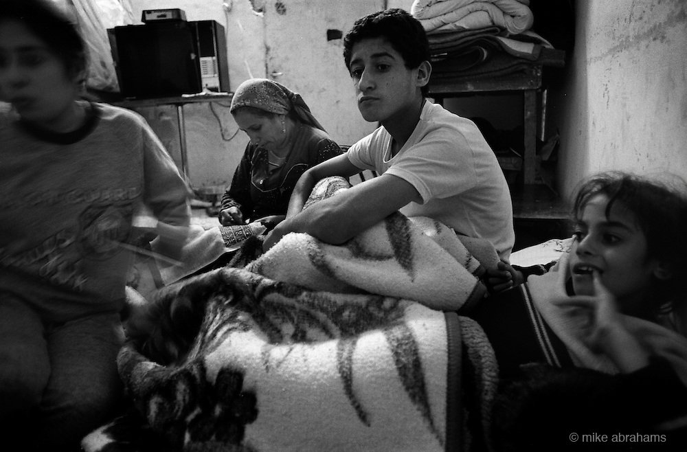 Jabalya Refugee Camp, Gaza 1988. Familly living under curfew