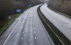 ©Licensed to London News Pictures 20/12/2019. <br /> Crawley ,UK. M23 at Junction 11 empty.  The M23 in East Sussex near Gatwick was shut in both directions today between Junction 10 and Junction 11 for Pease Pottage due to flooding.  Photo credit: Grant Falvey/LNP
