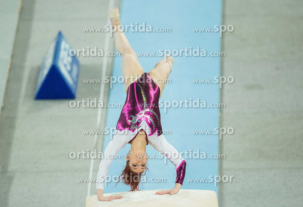 Tjasa Kysselef of Slovenia competes in the Vault during Final of Artistic Gymnastics World Challenge Cup Ljubljana, on April 4, 2015 in Arena Stozice, Ljubljana, Slovenia. Photo by Vid Ponikvar / Sportida