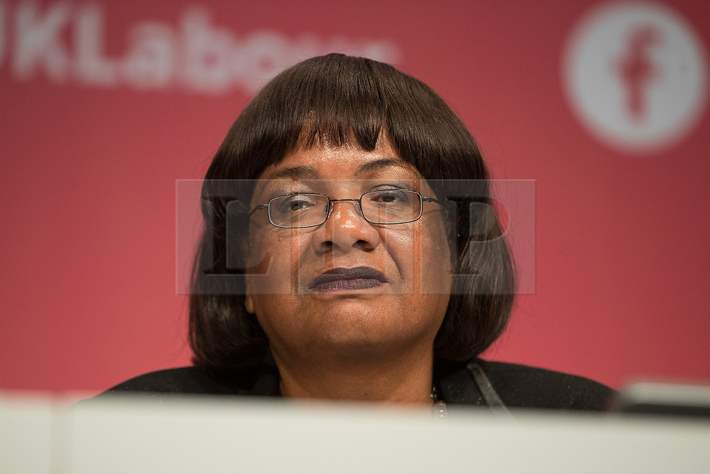 © Licensed to London News Pictures . 24/09/2017. Brighton, UK. DIANNE ABBOTT at the conference . The first day of the Labour Party Conference in and around The Brighton Centre . Photo credit: Joel Goodman/LNP