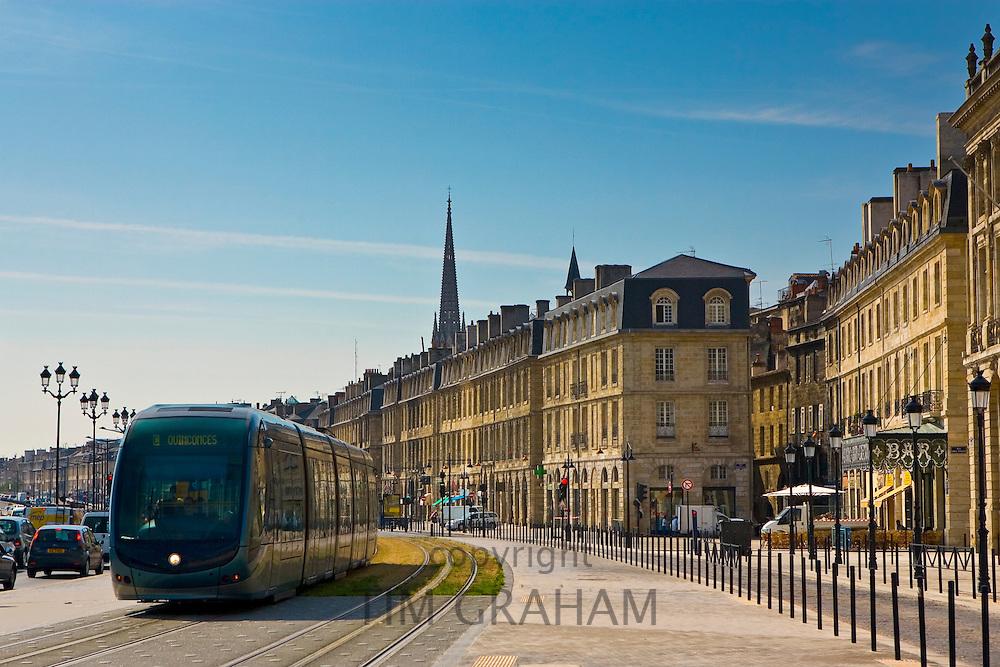 Public transport tram system runs in old Bordeaux, France.