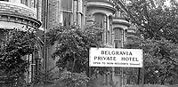 Belgravia Hotel, Belfast, N Ireland, UK. The hotel was created from a block of elegant terrace houses in the suburbs of South Belfast.  Outwardly they retained the appearance of individual homes. 197308220561c..Copyright Image from Victor Patterson, 54 Dorchester Park, Belfast, UK, BT9 6RJ..Tel: +44 28 9066 1296.Mob: +44 7802 353836.Voicemail +44 20 8816 7153.Skype: victorpattersonbelfast.Email: victorpatterson@mac.com.Email: victorpatterson@ireland.com (back-up)..IMPORTANT: If you wish to use this image or any other of my images please go to www.victorpatterson.com and click on the Terms & Conditions. Then contact me by email or phone with the reference number(s) of the image(s) concerned.