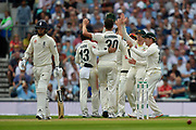 Not out - No Ball - Pat Cummins of Australia celebrates taking the wicket of Sam Curran of England but the England batsman is given a second chance after the bowler had a no ball on review during the 5th International Test Match 2019 match between England and Australia at the Oval, London, United Kingdom on 12 September 2019.
