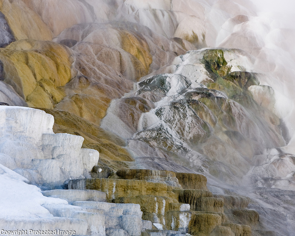 Mammoth Hot Springs in Yellowstone provided subject matter for this abstract photograph in late afternoon light.
