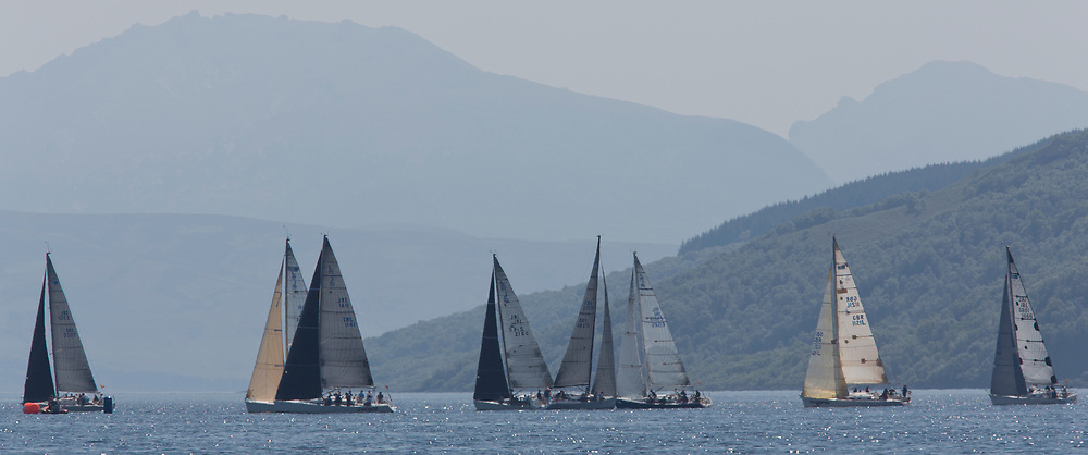Silvers Marine Scottish Series 2017<br /> Tarbert Loch Fyne - Sailing<br /> <br /> RC35 Class upwind on Loch Fyne