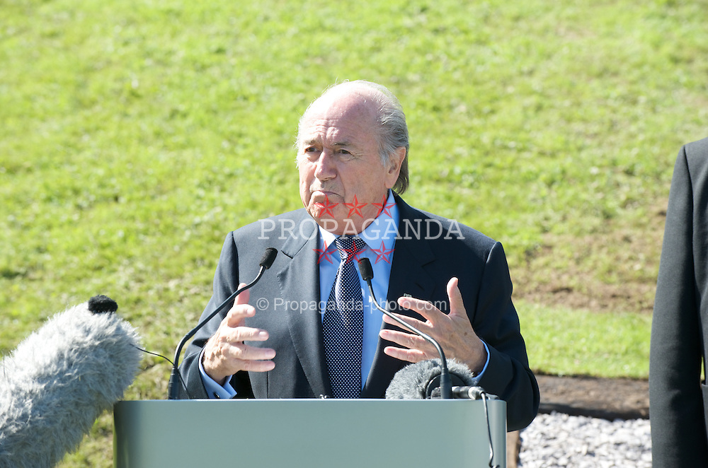 CARDIFF, WALES - Wednesday, September 9, 2009: FIFA President Joseph Sepp Blatter speaks to the media at the opening of the Wales national team training pitch ahead of the FIFA World Cup Qualifying Group 3 match against Russia. (Pic by David Rawcliffe/Propaganda)