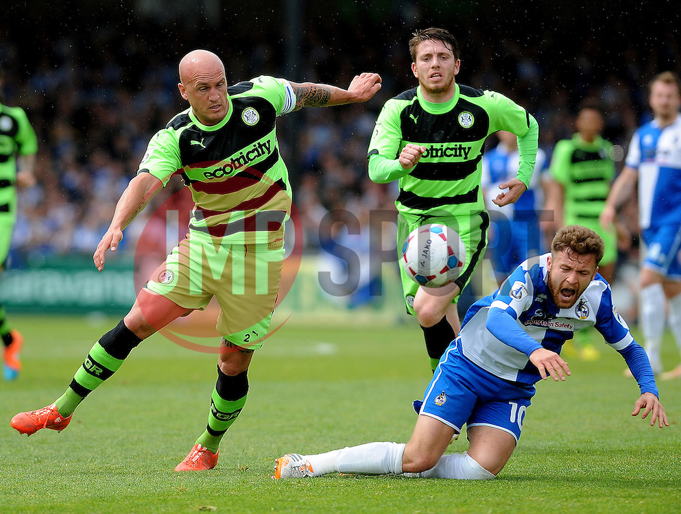 Bristol Rovers' Matty Taylor is fouled by Forest Green Rovers's David Pipe - Photo mandatory by-line: Neil Brookman/JMP - Mobile: 07966 386802 - 03/05/2015 - SPORT - Football - Bristol - Memorial Stadium - Bristol Rovers v Forest Green Rovers - Vanarama Football Conference
