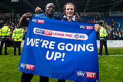 Free to use courtesy of Sky Bet - Wycombe Wanderers manager Gareth Ainsworth and Adebayo Akinfenwa of Wycombe Wanderers celebrate winning promotion to Sky Bet League One - Mandatory by-line: Robbie Stephenson/JMP - 28/04/2018 - FOOTBALL - Proact Stadium - Chesterfield, England - Chesterfield v Wycombe Wanderers - Sky Bet League Two