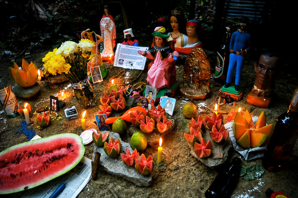 An alter constructed in Sorte Mountain during the Maria Lionza pilgrimage in Yaracuy, Venezuela.