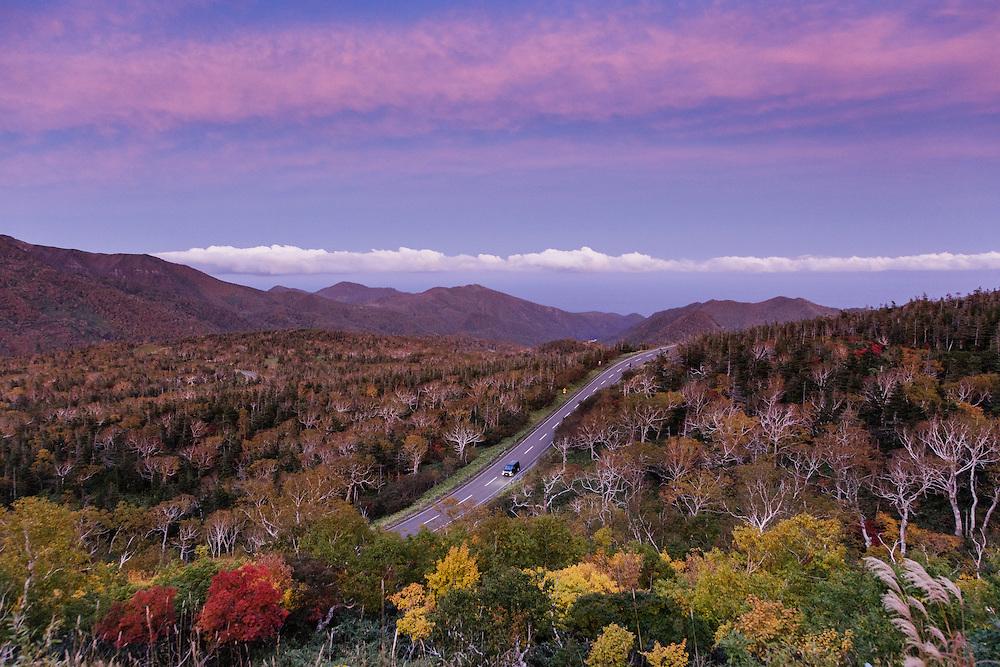 Shiretoko National Park, Hokkaido, October 7 2015 - Autumn landscapes of Shiretoko pass.