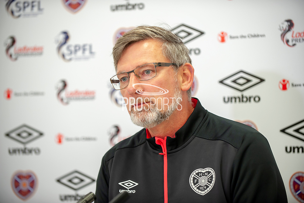 Hearts manager, Craig Levein, speaking to the media during the Heart of Midlothian pre match press conference ahead of the visit of Livingston, at Oriam Sports Performance Centre, Riccarton, Edinburgh, Scotland on 20 September 2018.
