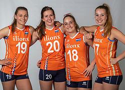10-05-2018 NED: Team shoot Dutch volleyball team women, Arnhem<br /> (L-R) Nika Daalderop #19 of Netherlands, Tessa Polder #20 of Netherlands, Marrit Jasper #18 of Netherlands, Nicole Oude Luttikhuis #17 of Netherlands
