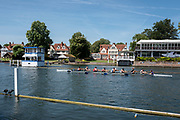 "Henley on Thames, United Kingdom, 2nd July 2018, Monday,   ""Henley Royal Regatta"",  view,  Leeds  Rowing Club, entered, in the ""Temple Challeng Cup"",  ""Training on Henley Reach"", River Thames, Thames Valley, England, © Peter SPURRIER,"