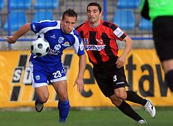 Stjepan Caban (23) of Nafta and Alen Dzuzdanovic (3) of Primorje at 12th Round of PrvaLiga Telekom Slovenije between NK Primorje vs NK Nafta Lendava, on October 5, 2008, in Town stadium in Ajdovscina. Nafta won the match 2:1. (Photo by Vid Ponikvar / Sportal Images)
