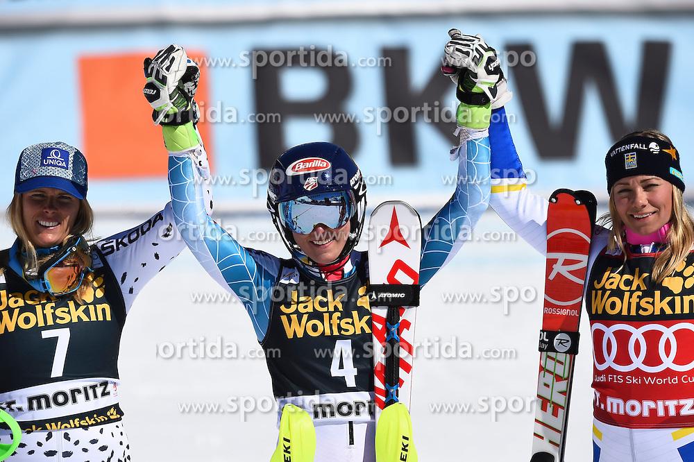 19.03.2016, Engiadina, St. Moritz, SUI, FIS Weltcup Ski Alpin, St. Moritz, Slalom, Damen, im Bild Die Siegerinnen Velez Zuzulova (SVK), Mikaela Shiffrin (USA) und Frida Hansdotter (SWE) vl. // during ladie's Slalom of st. Moritz Ski Alpine World Cup finals at the Engiadina in St. Moritz, Switzerland on 2016/03/19. EXPA Pictures &copy; 2016, PhotoCredit: EXPA/ Freshfocus/ Manuel Lopez<br /> <br /> *****ATTENTION - for AUT, SLO, CRO, SRB, BIH, MAZ only*****