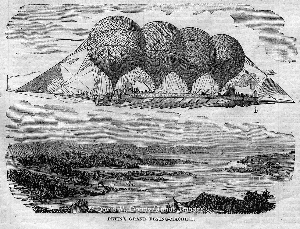 Petin's Grand flying machine. Flying machines (balloons etc) from Harper's Weekly, July 25, 1857