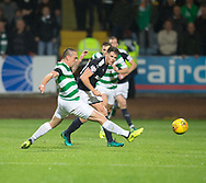 20th September 2017, Dens Park, Dundee, Scotland; Scottish League Cup Quarter-final, Dundee v Celtic; Dundee's Lewis Spence and Celtic's Scott Brown